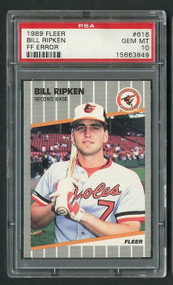 1989 Fleer Bill Ripken FF Error PSA 10 with 1989 UD Pack!