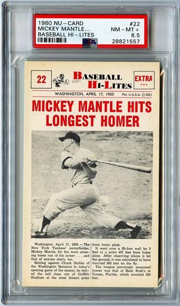 1960 Nu-Card Baseball Hi-Lites #22 Mickey Mantle PSA 8.5-Pop 2 Only; 5 Higher