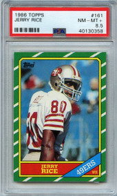 1986 Topps Jerry Rice RC Rookie Card HOF #161 PSA 8.5