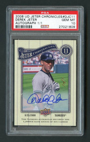 2008 UD Jeter Chronicles Derek Jeter Auto True 1/1 PSA 10 Gem Mint