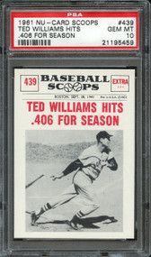 1961 NU-CARD SCOOPS TED WILLIAMS HITS .406 FOR SEASON #439 PSA GEM MT 10