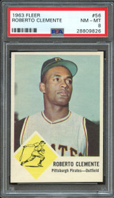 1963 FLEER ROBERTO CLEMENTE #56 HOF  PSA 8 - Centered