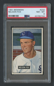 1951 Bowman Nelson Nellie Fox RC Rookie #232 HOF PSA 8