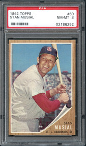 1962 Topps #50 Stan Musial PSA 8 NM/MT