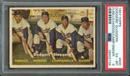 1957 Topps Dodgers Sluggers #400 Snider, Furillo, Campanella- PSA 6 - Centered