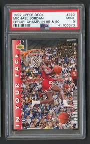1992 Upper Deck Michael Jordan #453 Error Champ PSA 9 Mint