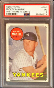 1969 Topps Mickey Mantle Last Name in WHITE  PSA 3 - Rare Variation