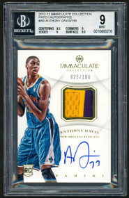 2012 Immaculate Anthony Davis Rookie RC Patch AUTO /100 BGS 9 Mint