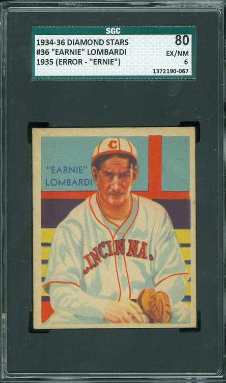 "1934 Diamond Stars Ernie ""Earnie"" Lombardi Error HOF SGC 6/80"