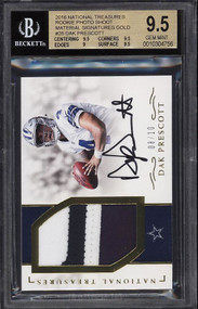 2016 National Treasures Gold Dak Prescott ROOKIE AUTO PATCH /10 BGS 9.5