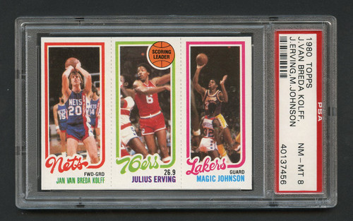 1980 Topps Magic Johnson w/ J. Erving HOF RC Rookie #139 PSA 8