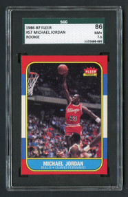 1986 Fleer Michael Jordan #57 RC Rookie HOF SGC 7.5 - Mint