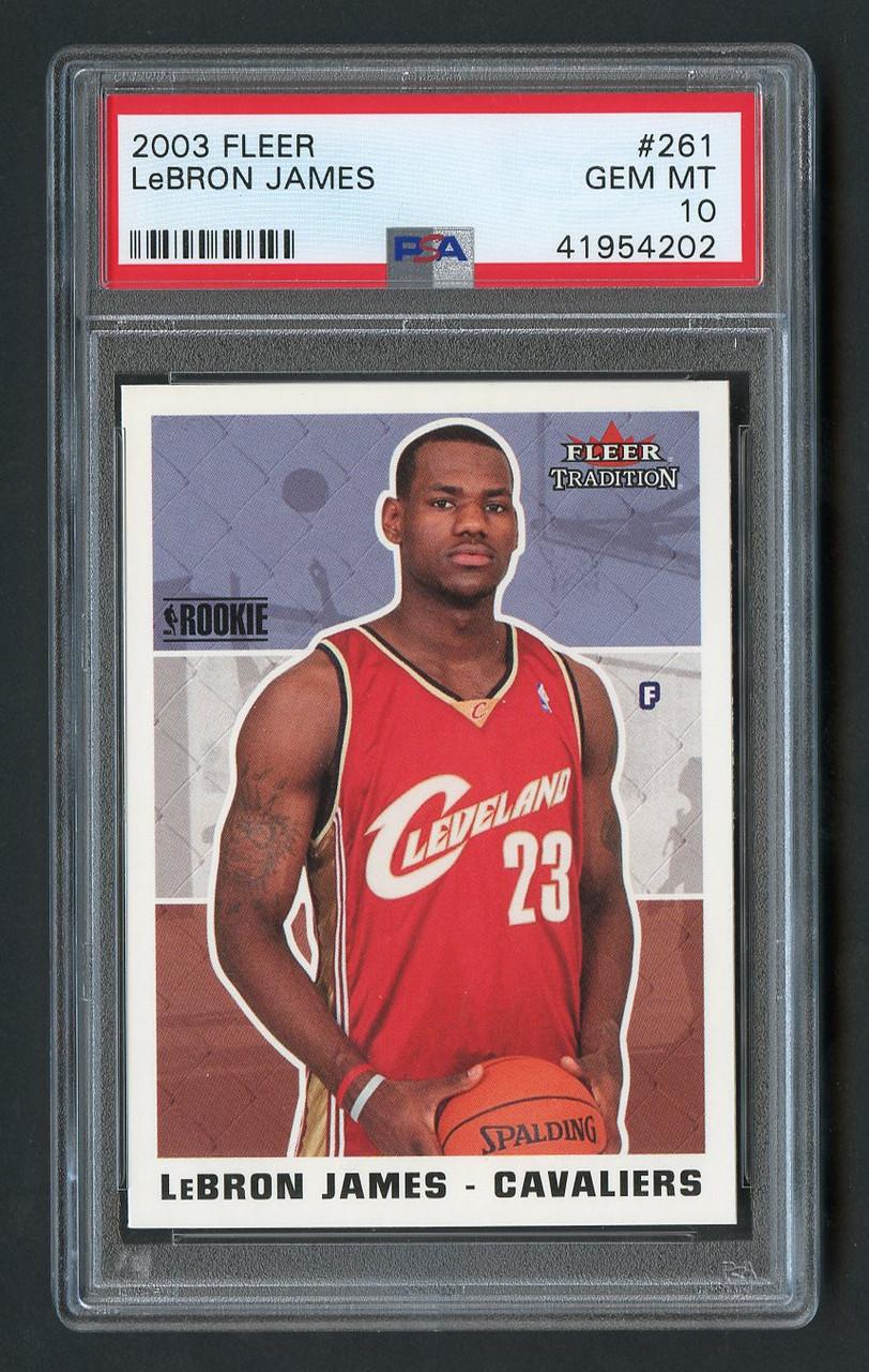 174e38947cd4 2003 Fleer Lebron James RC Rookie  261 PSA 10 Gem Mint - Cardboard ...