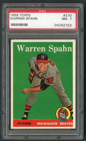 1958 Topps Warren Spahn #220 HOF PSA 7-High-End Qualities