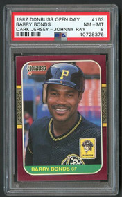 1987 Donruss Opening Day Barry Bonds Error Johnny Ray PSA 8 - Centered