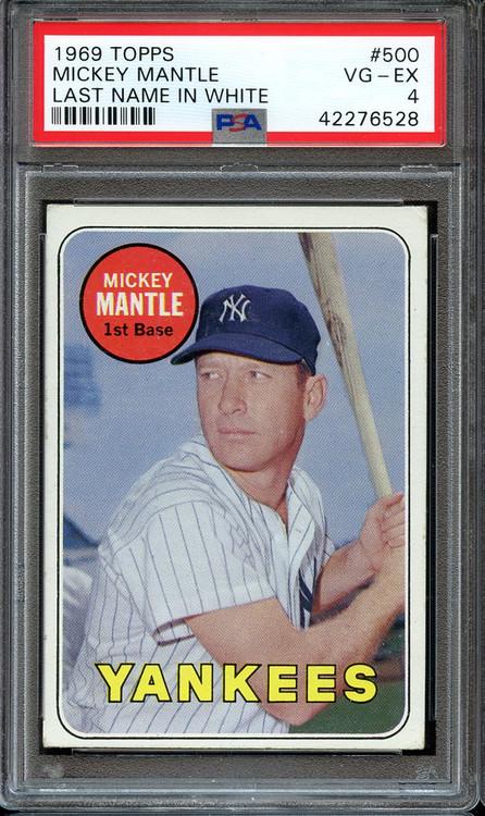 1969 Topps Mickey Mantle #500 HOF Last Name White PSA 4 - Rare
