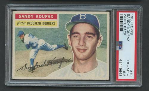 1956 Topps Sandy Koufax #79 HOF White Back PSA 6.5 - Centered