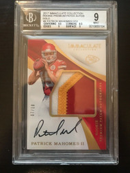 2017 Immaculate Patrick Mahomes RC Rookie Auto 3-Color Patch /10 BGS 9