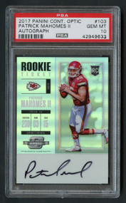 2017 Contenders Optic Patrick Mahomes RC Rookie Auto PSA 10 Gem Mint