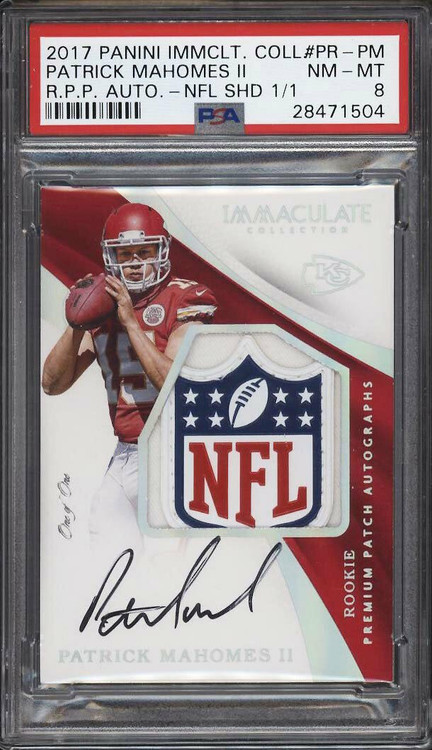 2017 Immaculate NFL Logo Shield Patrick Mahomes RC AUTO PATCH 1/1 PSA 8