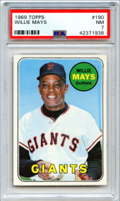 1969 Topps Willie Mays #190 HOF PSA 7-Centered