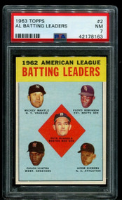 1963 Topps AL Batting Leaders w/Mickey Mantle #2 HOF PSA 7