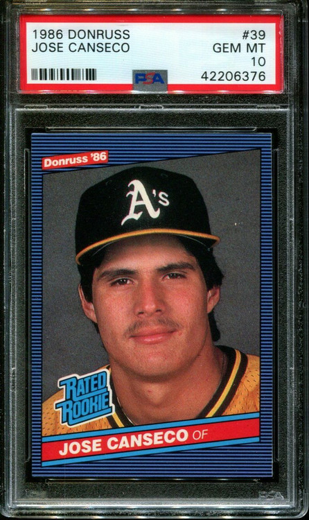 1986 Donruss Jose Canseco #39 PSA 10 Gem Mint