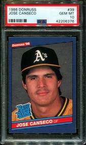 1986 Donruss Jose Canseco #39 PSA 10 Gem Mint
