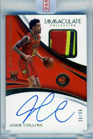 2017 Panini Immaculate Collection John Collins RC Rookie 3-Color Patch Auto RPA/99 Uncirculated
