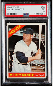 1966 Topps Mickey Mantle #50 HOF PSA 6 - High-End