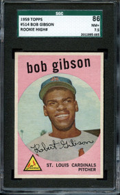 1959 Topps Bob Gibson RC Rookie #514 HOF SGC 7.5-Centered