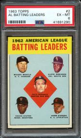 1963 Topps AL Batting Leaders Mickey Mantle HOF #2 PSA 6
