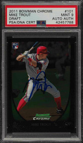 2011 Bowman Chrome Draft Mike Trout #101 RC Rookie Auto PSA 9 Mint