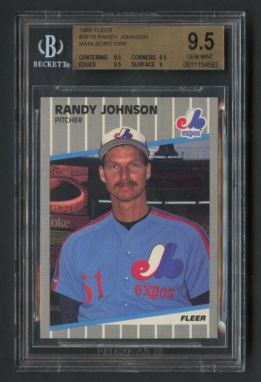 1989 Fleer Randy Johnson Marlboro Error 381 Sp Bgs 95 Gem Mint