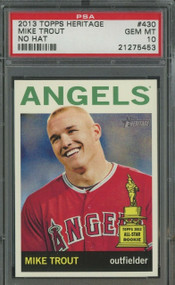 2013 Topps Heritage Mike Trout RC Rookie #430 No Hat-PSA 10 Gem Mint Rare Variation