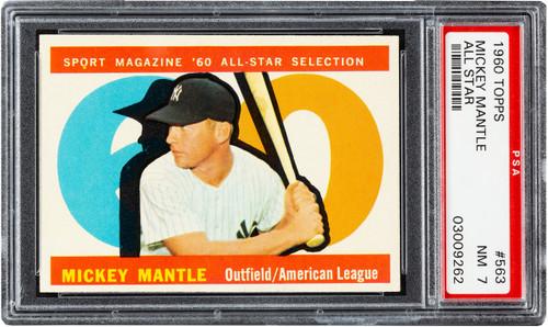 1960 Topps Mickey Mantle All-Star #563 HOF PSA 7 - Centered