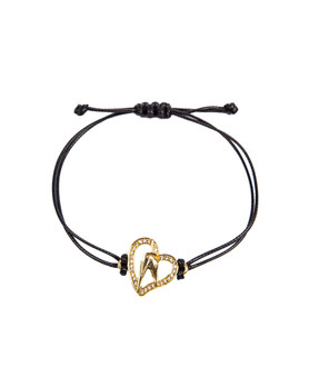 One World Observatory Friendship String Bracelet Black with crystals from Swarovski