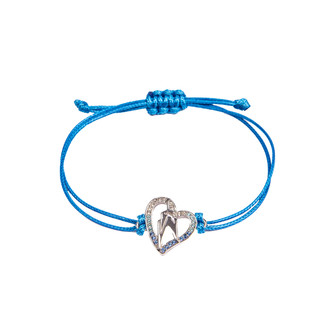 One World Observatory Friendship String Bracelet Blue with crystals from Swarovski