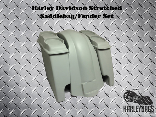 "4"" Stretched Double Speaker Saddlebags & Fender - Dual Cut Outs - Softail Harley"