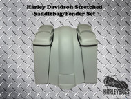 "4"" Stretched Double Speaker Saddlebags & Fender NO CUTOUTS - LOUD Softail Harley"