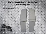 "6"" Extended Stretched Saddlebags w/Lids - No Cut Outs - Harley Softail & Touring"