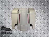 "Harley 4"" Stretched Saddlebags with LED Fender + 6.5"" Speaker Lids - Softail"