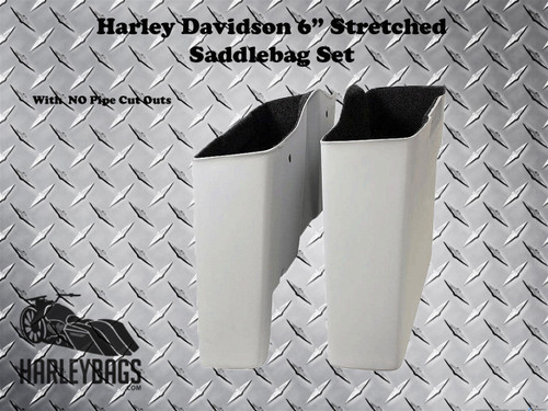 """Harley 6"""" Extended Stretched Saddlebags - No Cut Outs"""