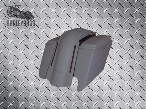 "Harley Davidson 5"" Stretched Angel Cut Saddlebags & LED Fender - Dual Cut Outs"