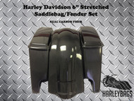 "Harley Davidson 6"" Carbon Fiber Stretched Saddlebags & Rear Fender"