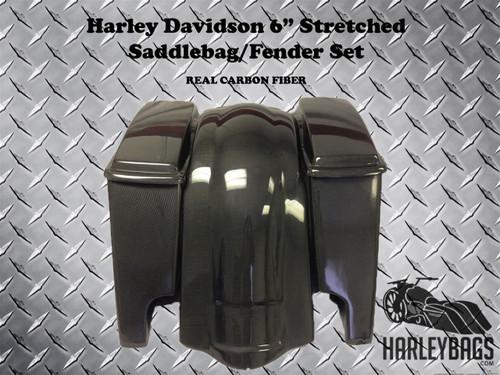 """Harley Davidson 6"""" Carbon Fiber Stretched Saddlebags & Rear Fender"""