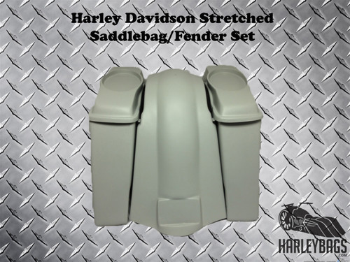 """Harley Davidson 6"""" Extended Stretched Saddlebags Bags & Fender Softail Fatboy"""