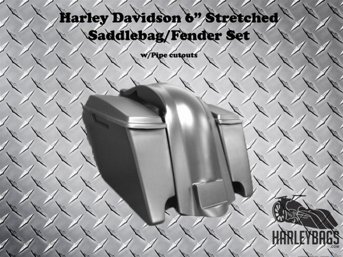 "Harley Davidson Motorcycle 6"" Extended Stretched Saddlebags, Lids & Rear Fender"