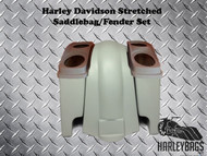 "Harley Davidson Softail 4"" Stretched Saddlebags Dual 6x9 Speaker Lids and Fender"