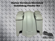"Harley Davidson Softail 6"" Stretched Saddlebags & Fender - 2x Dual Speaker Lids"